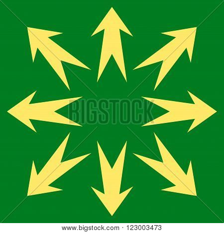 Expand Arrows vector icon symbol. Image style is flat expand arrows pictogram symbol drawn with yellow color on a green background.