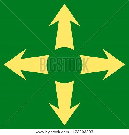 Expand Arrows vector icon symbol. Image style is flat expand arrows iconic symbol drawn with yellow color on a green background.