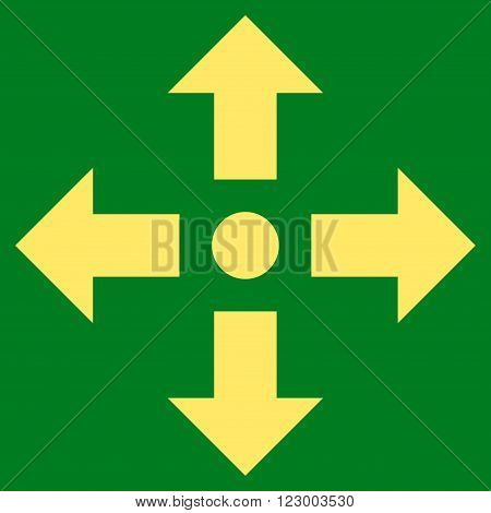 Expand Arrows vector symbol. Image style is flat expand arrows icon symbol drawn with yellow color on a green background.