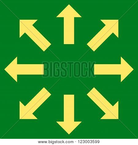 Explode Arrows vector symbol. Image style is flat explode arrows iconic symbol drawn with yellow color on a green background.