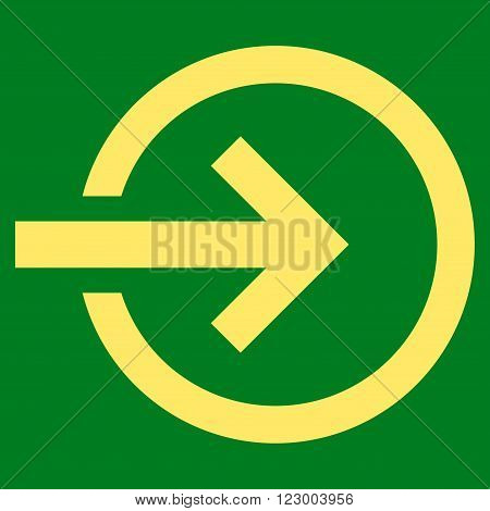 Import vector symbol. Image style is flat import icon symbol drawn with yellow color on a green background.