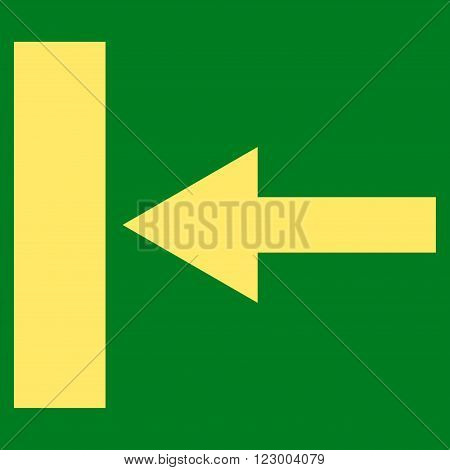 Move Left vector icon. Image style is flat move left pictogram symbol drawn with yellow color on a green background.