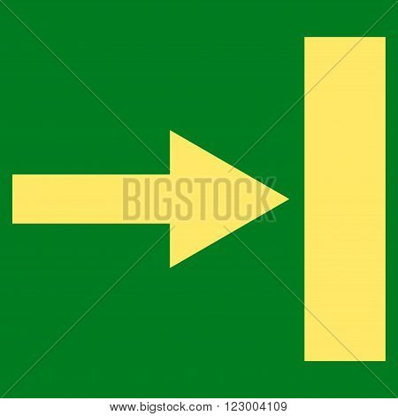 Move Right vector pictogram. Image style is flat move right iconic symbol drawn with yellow color on a green background.