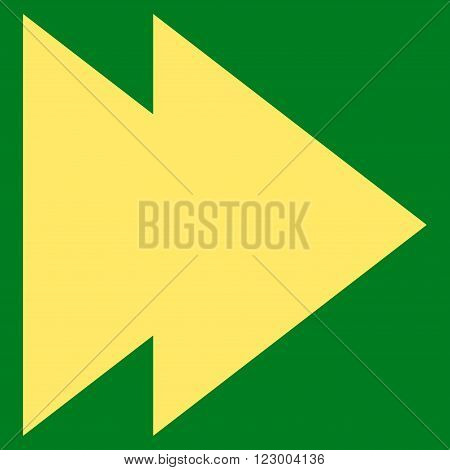 Move Right vector pictogram. Image style is flat move right icon symbol drawn with yellow color on a green background.