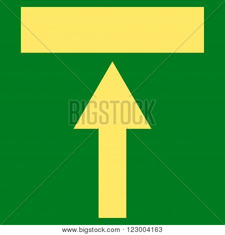 Move Top vector symbol. Image style is flat move top iconic symbol drawn with yellow color on a green background.