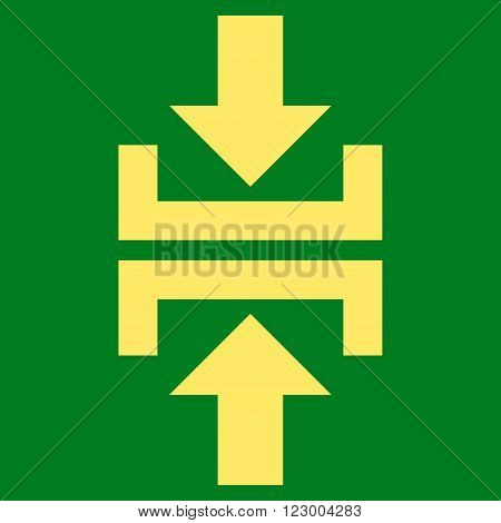 Press Vertical Direction vector icon symbol. Image style is flat press vertical direction icon symbol drawn with yellow color on a green background.