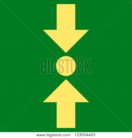 Pressure Vertical vector symbol. Image style is flat pressure vertical pictogram symbol drawn with yellow color on a green background.