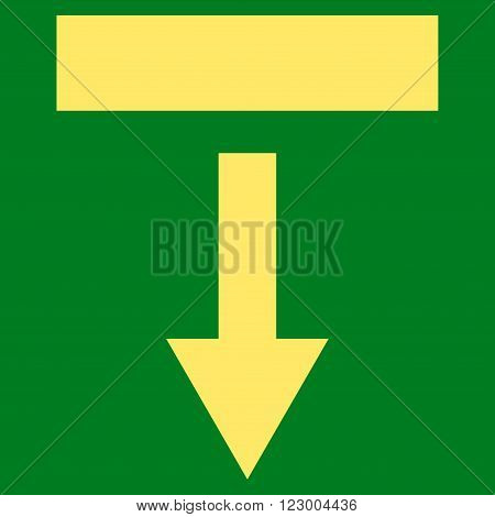 Pull Down vector pictogram. Image style is flat pull down icon symbol drawn with yellow color on a green background.