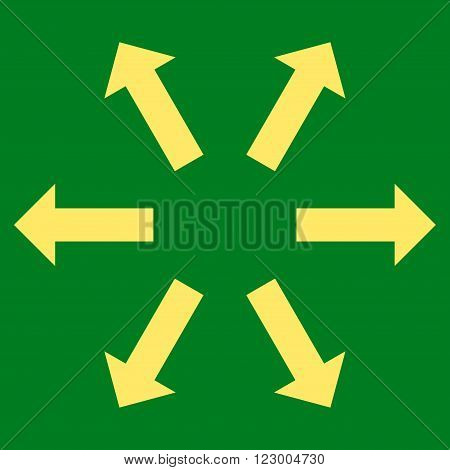Radial Arrows vector symbol. Image style is flat radial arrows pictogram symbol drawn with yellow color on a green background.