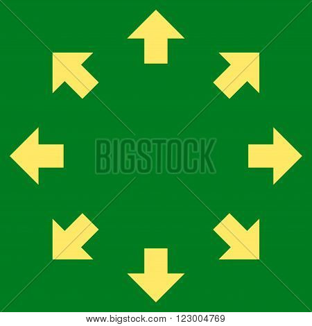 Radial Arrows vector pictogram. Image style is flat radial arrows iconic symbol drawn with yellow color on a green background.