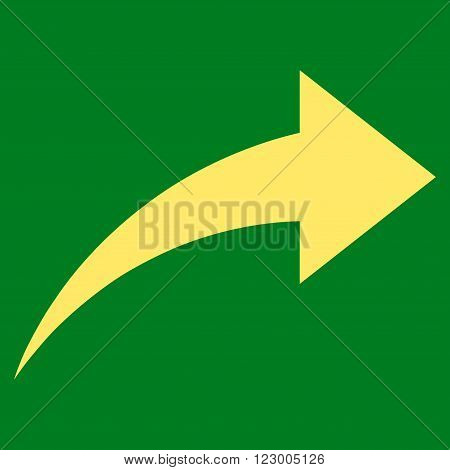 Redo vector icon symbol. Image style is flat redo icon symbol drawn with yellow color on a green background.