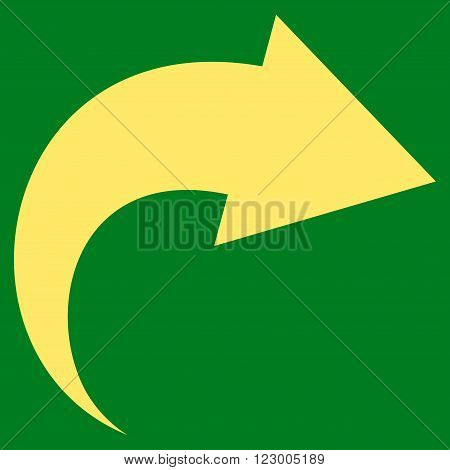 Redo vector icon symbol. Image style is flat redo iconic symbol drawn with yellow color on a green background.