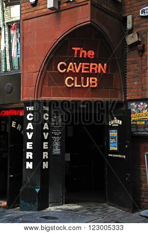 LIVERPOOL, UK - JUNE 11, 2015 - Entrance to the Cavern Club at 10 Mathew Street The Cavern Quarter Liverpool Merseyside England UK Western Europe, June 11, 2015.