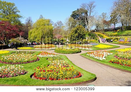 SHREWSBURY, UK - APRIL 22, 2015 - View of The Dingle formal garden in Quarry Park during the Springtime Shrewsbury Shropshire England UK Western Europe, April 22, 2015.