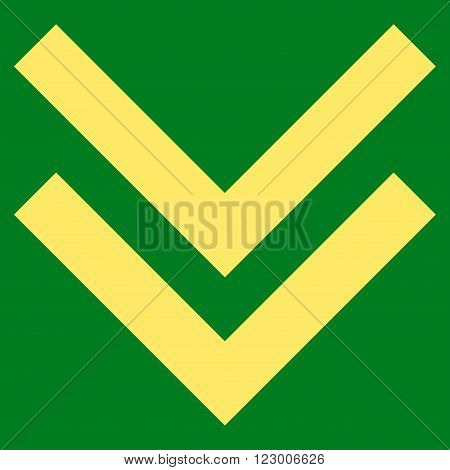 Shift Down vector icon symbol. Image style is flat shift down iconic symbol drawn with yellow color on a green background.