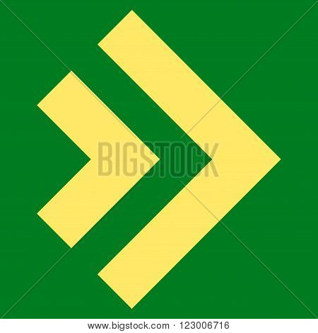 Shift Right vector pictogram. Image style is flat shift right iconic symbol drawn with yellow color on a green background.