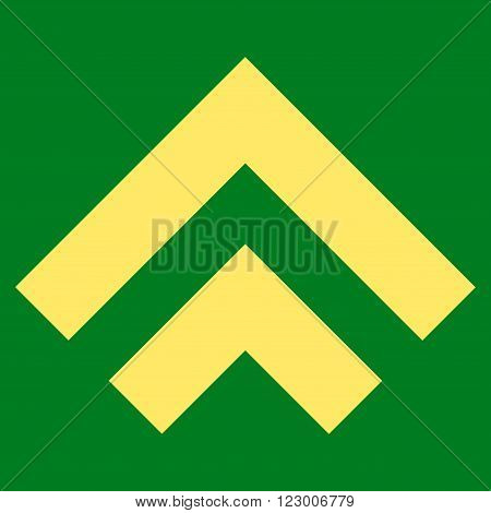 Shift Up vector symbol. Image style is flat shift up pictogram symbol drawn with yellow color on a green background.