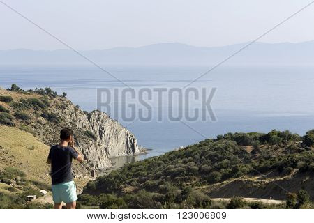 General view over Aegean sea and Mount Athos Greece Sithonia.