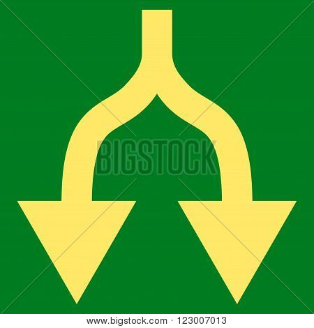 Split Arrows Down vector icon symbol. Image style is flat split arrows down icon symbol drawn with yellow color on a green background.