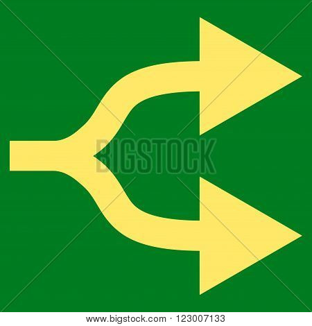 Split Arrows Right vector icon symbol. Image style is flat split arrows right iconic symbol drawn with yellow color on a green background.