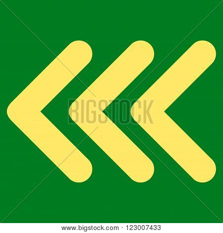 Triple Arrowhead Left vector icon. Image style is flat triple arrowhead left iconic symbol drawn with yellow color on a green background.