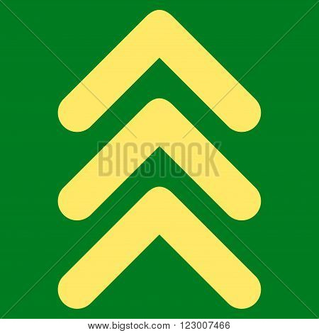 Triple Arrowhead Up vector icon. Image style is flat triple arrowhead up iconic symbol drawn with yellow color on a green background.