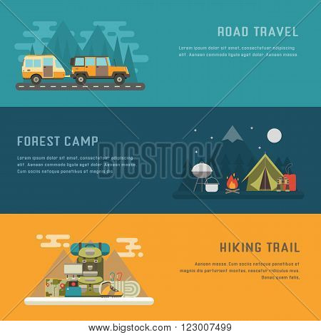 Camping hiking and trailering concept background with place for text. Campground RV camper on road travel and mountain hiking concept banner templates.