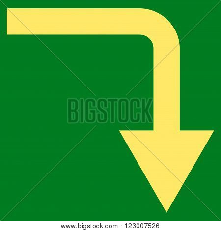 Turn Down vector symbol. Image style is flat turn down iconic symbol drawn with yellow color on a green background.