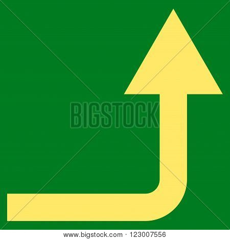 Turn Forward vector icon. Image style is flat turn forward iconic symbol drawn with yellow color on a green background.