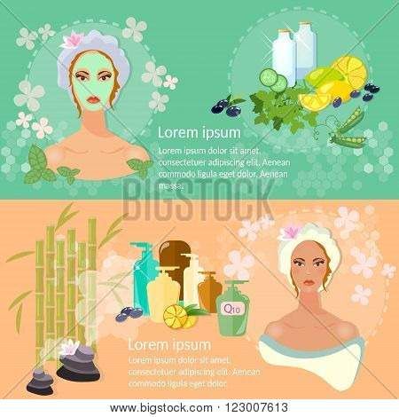 Woman face banner skin care nourishing face mask natural cosmetics