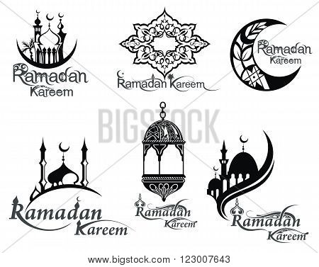 Ramadan icons set. Ramadan collection of elements