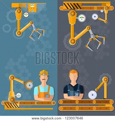 Conveyor banners automation of labor conveyor belt conveyor operator vector illustration