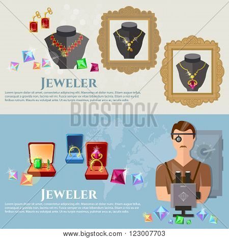 Jewelry banners jeweler at work sale and manufacture of jewelery vector illustration