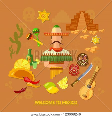 Mexican culture and Mexican food vector illustration