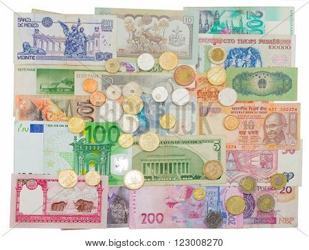 Banknotes and coins of different countries that are in circulation now and those that were earlier in circulation