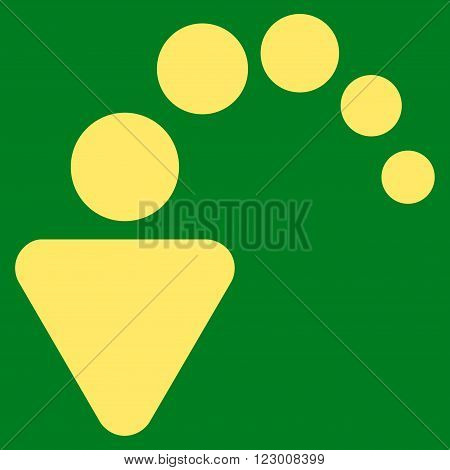 Undo vector symbol. Image style is flat undo icon symbol drawn with yellow color on a green background.