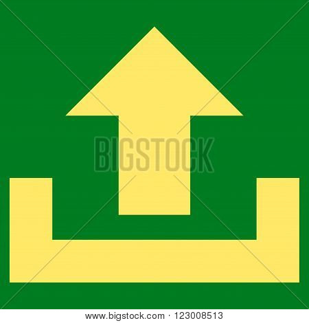Upload vector icon symbol. Image style is flat upload icon symbol drawn with yellow color on a green background.