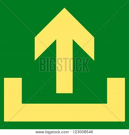 Upload vector symbol. Image style is flat upload icon symbol drawn with yellow color on a green background.