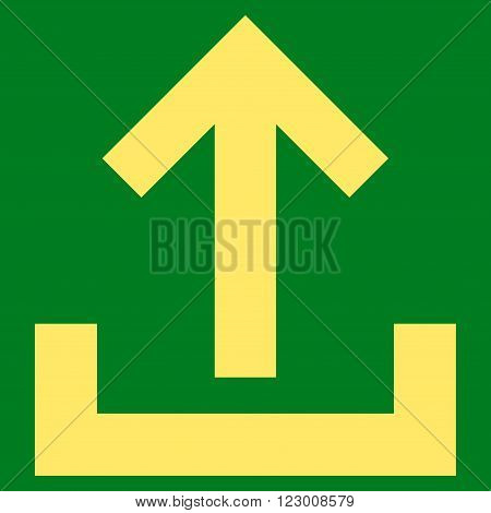 Upload vector pictogram. Image style is flat upload pictogram symbol drawn with yellow color on a green background.