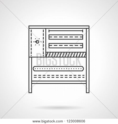 Bakery equipment. Oven and stove. Commercial kitchen. Vector icon flat thin line style. Element for web design, business, mobile app.