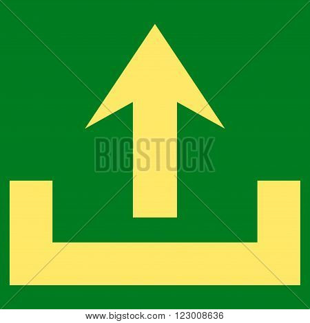 Upload vector symbol. Image style is flat upload pictogram symbol drawn with yellow color on a green background.