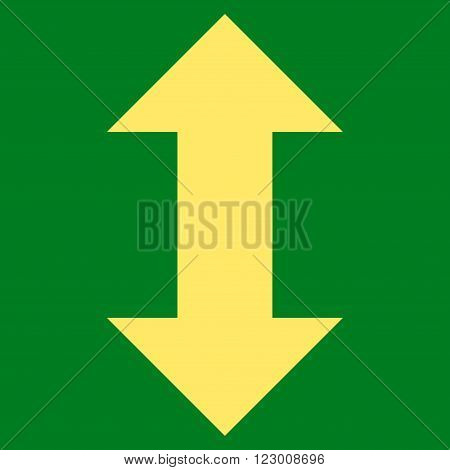 Vertical Exchange Arrows vector icon. Image style is flat vertical exchange arrows icon symbol drawn with yellow color on a green background.