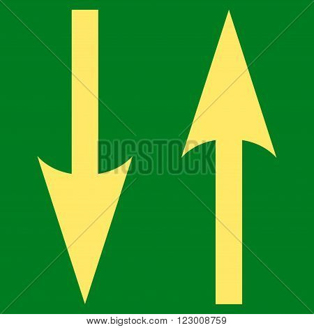 Vertical Exchange Arrows vector symbol. Image style is flat vertical exchange arrows iconic symbol drawn with yellow color on a green background.