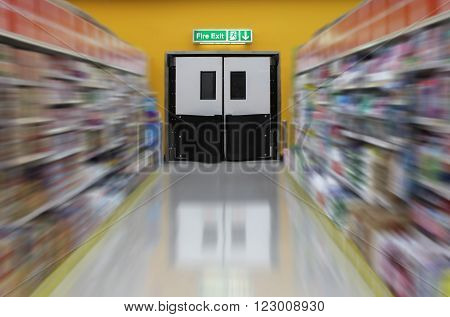 Focus on the Exit fire doors in supermarket