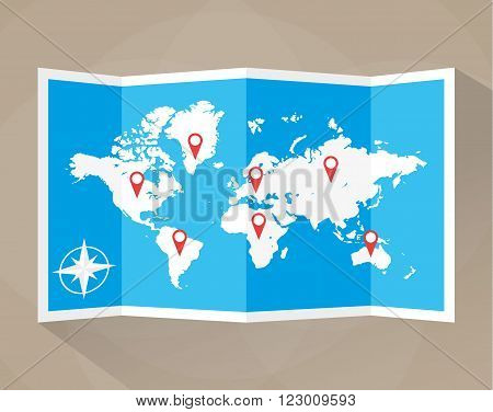 Paper world map with location icons. map icon, vector map, vector illustration in flat design on brown background