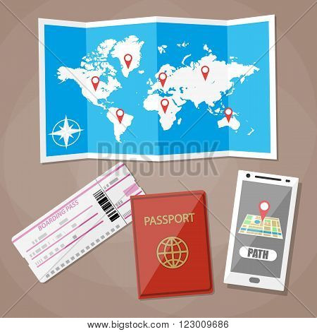 Travelling background, smartphone with navigation application, plane ticket, passport, paper map of world, travel and vacations concept. vector illustration in flat design on brown background