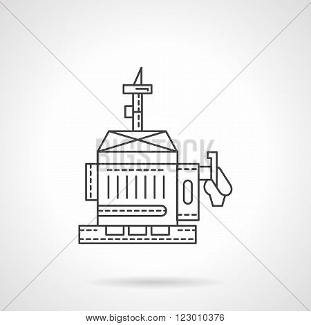 Power energy equipment. Diesel generator. Electricity objects. Vector icon flat thin line style. Element for web design, business, mobile app.