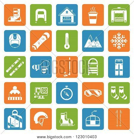 Snow games and fun outline icon collection. Winter activity silhouette pictogram set. Outdoor winter snow games and activity lifestyle concept icons. Snowboarding tourism vector square icons. Ski resort weekend.
