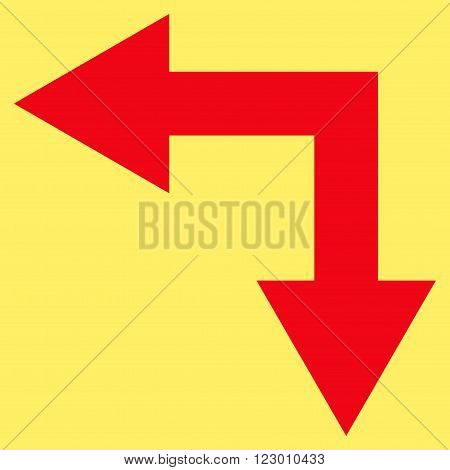 Bifurcation Arrow Left Down vector symbol. Image style is flat bifurcation arrow left down pictogram symbol drawn with red color on a yellow background.