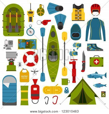 Rafting and kayaking icons collection. River camping outdoor elements. Rafting equipment and gear collection. Vector rafting elements isolated on white. Rafting river hike set.